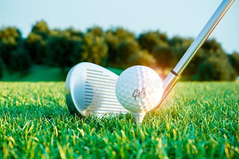 Palillo y bola del hierro del golf en curso antes del impacto 3d ilustración del vector