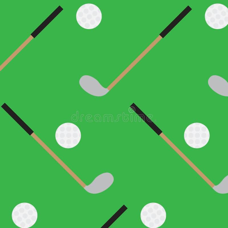 Palillo y bola inconsútiles del golf del modelo stock de ilustración