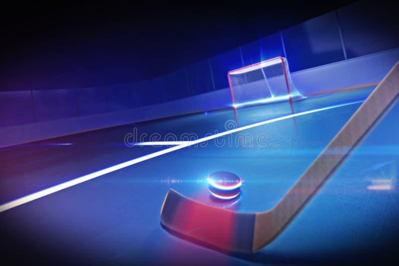 Palillo y duende malicioso de hockey en la pista de hielo ilustración del vector