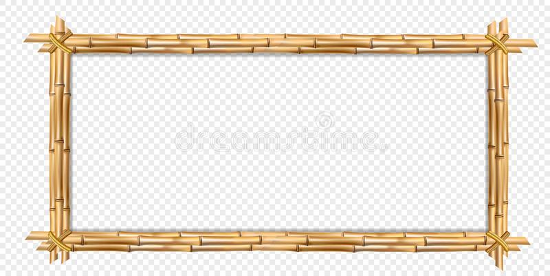 Palillos de bambú realistas marrones del marco de madera del rectángulo con el espacio de la copia libre illustration