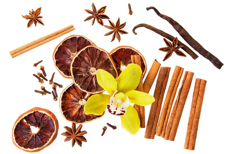 Palillos de canela aislados, vainilla y rebanada seca de la fruta cítrica en el fondo blanco Los ingredientes condimentan para el fotos de archivo