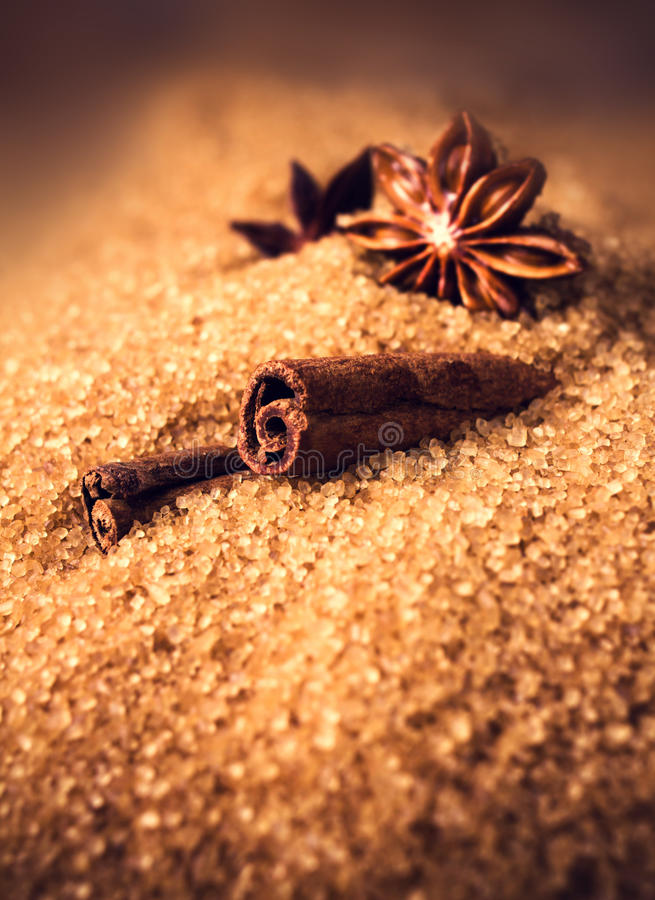Palillos de canela de los ingredientes de la hornada, anís de estrella y bastón s marrón imagenes de archivo