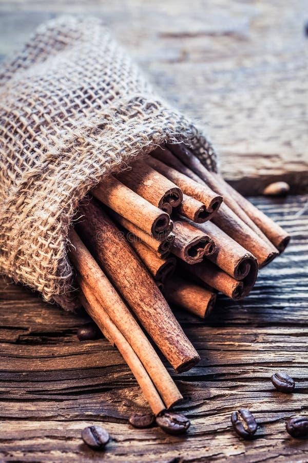 Palillos de canela en un saco de la arpillera foto de archivo libre de regalías