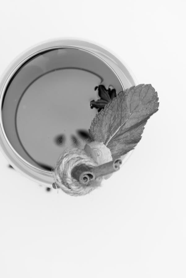 Palillos de canela, hojas de menta, anís y jengibre sobre el vidrio imagen de archivo