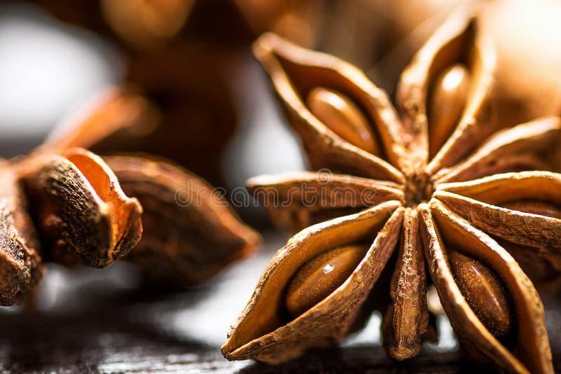Palillos de canela de los ingredientes de la hornada de la Navidad Anise Star Cloves Cardamom Scattered en la macro de madera del fotografía de archivo