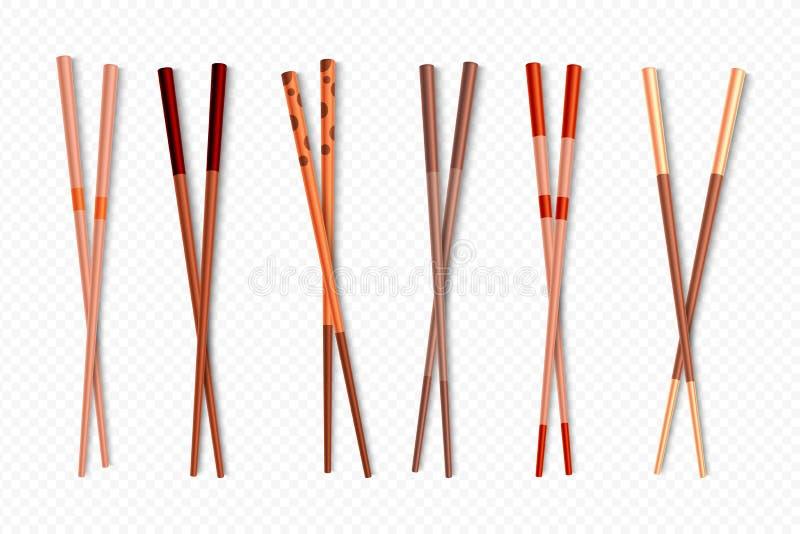 Palillos de la comida Palillos chinos de madera para los platos asiáticos, diversos tipos de palillos de bambú coloridos de la co ilustración del vector