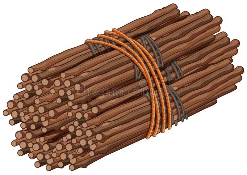 Palillos de madera en paquete grande ilustración del vector
