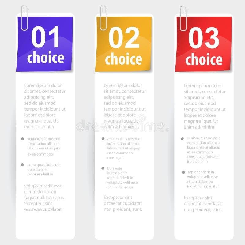 Palillos sujetados con grapa de la opción de la nota libre illustration