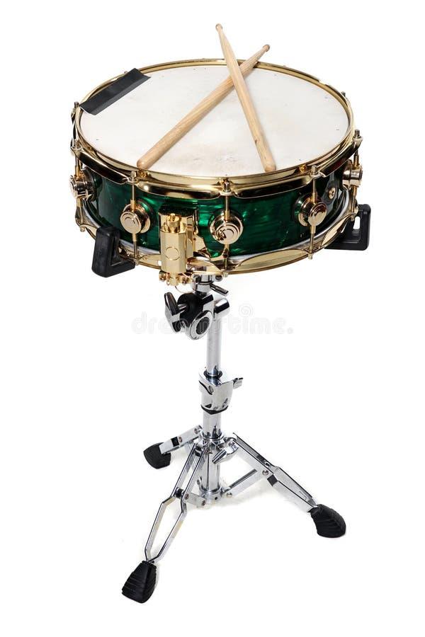 Palillos verdes de la trampa y del tambor foto de archivo libre de regalías
