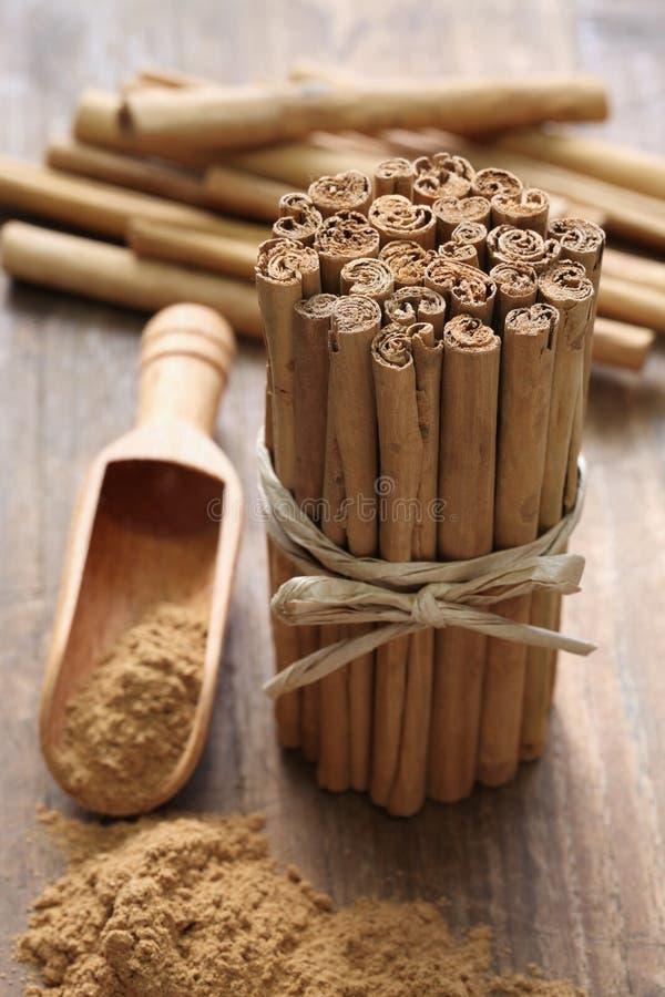 Palillos y polvo de canela de Ceilán fotos de archivo