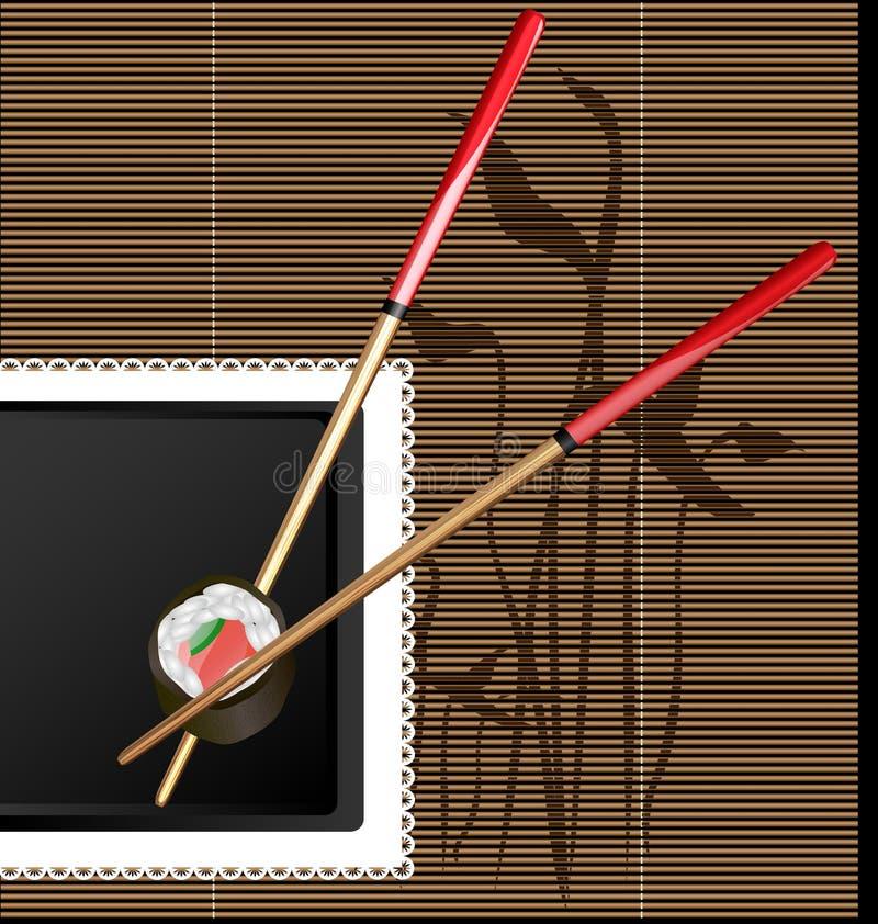 palillos y sushi libre illustration