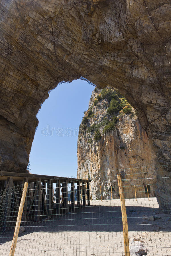 Palinuro`s Natural Arch stock photo
