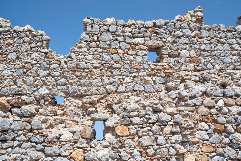 Palio Pyli古城的石头废墟 库存照片