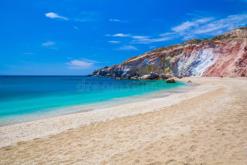 Paliochori strand, Milos ö, Cyclades som är aegean, Grekland arkivfoton