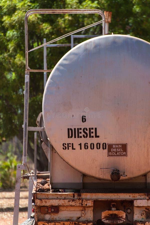 Paliwowy tankowiec wypełniający z olejem napędowym fotografia stock