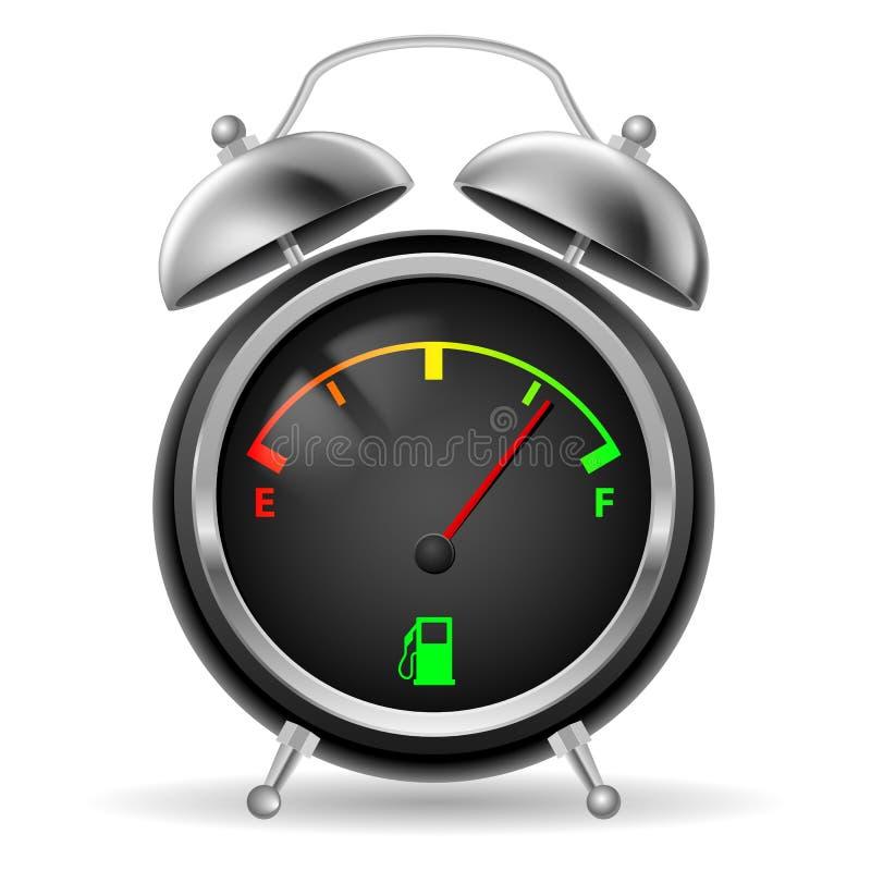 Paliwowy wskaźnik w zegarowym projekcie. ilustracja wektor
