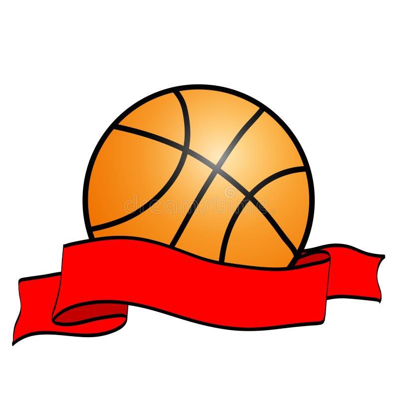 Palla arancio di pallacanestro con il fumetto rosso del nastro del nastro del vincitore piano illustrazione vettoriale