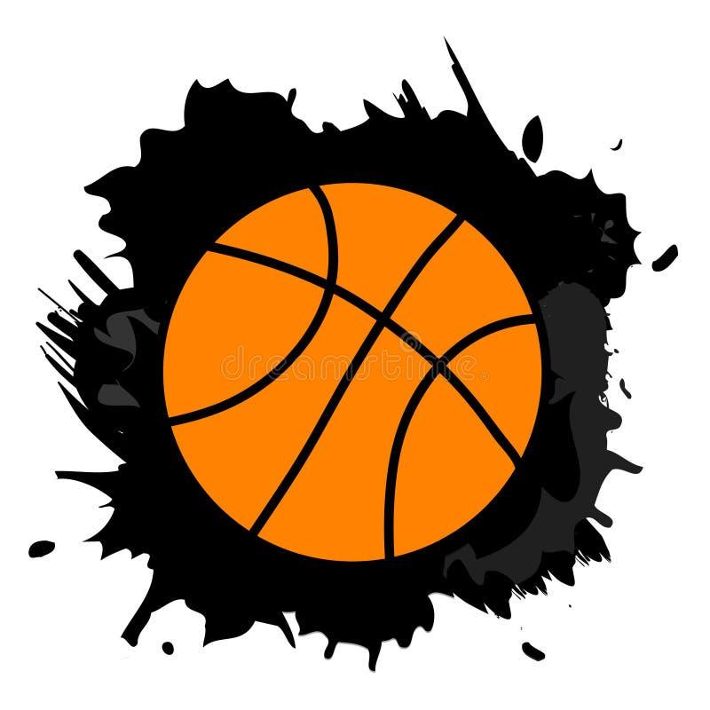Palla arancio di pallacanestro nella spruzzata nera della pittura, illustratio di vettore illustrazione vettoriale
