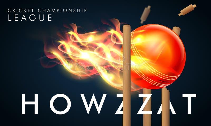 Palla ardente per il concetto della lega di campionato del cricket illustrazione vettoriale