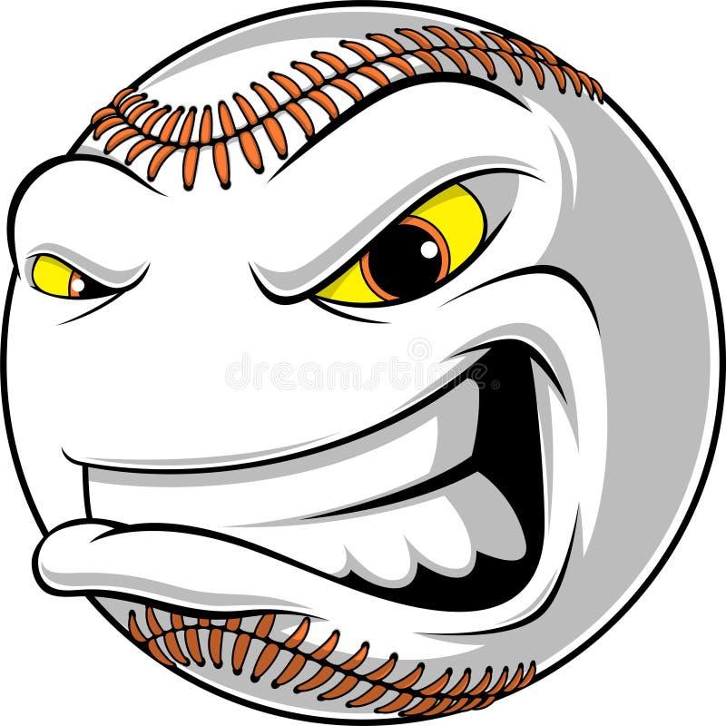 Palla arrabbiata per baseball illustrazione di stock