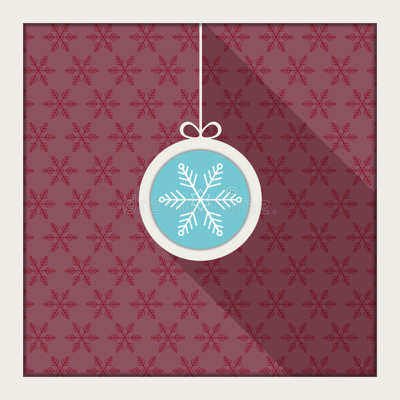 Palla astratta di Natale con il fondo dei fiocchi di neve e l'ombra lunga illustrazione vettoriale