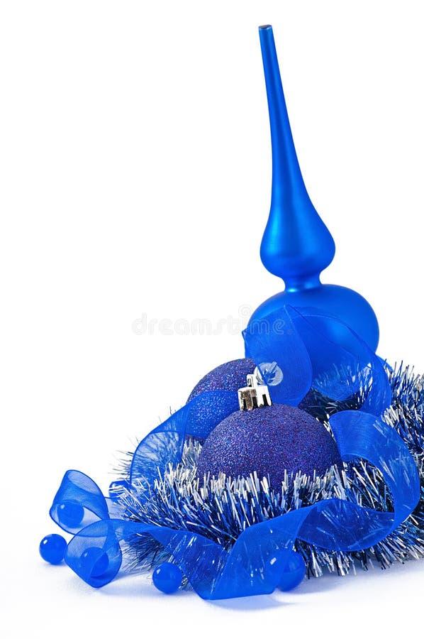 Palla blu di Natale isolata fotografia stock