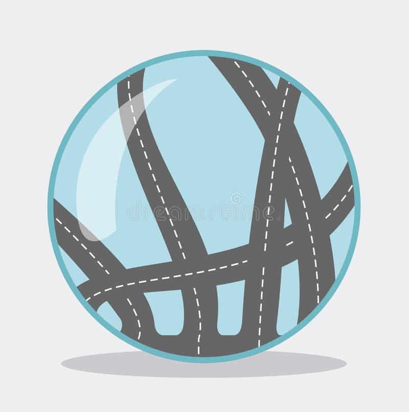 Palla blu di vetro dell'icona con le strade dentro Ci sono molti strade e modi Illustrazione di vettore illustrazione di stock