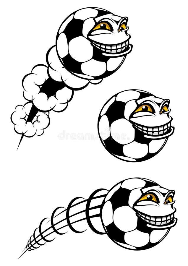 Palla cartooned volante di calcio o di calcio royalty illustrazione gratis