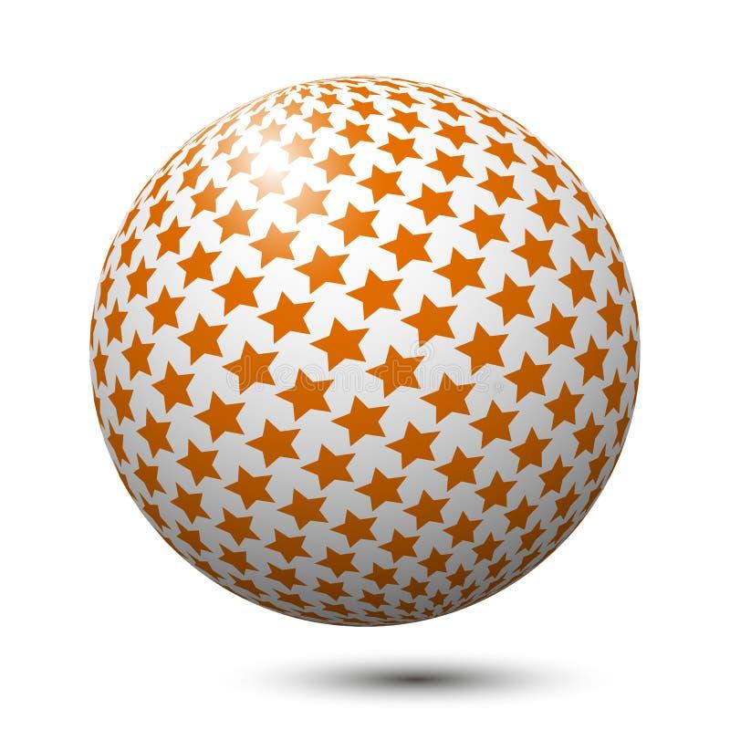 Palla con le stelle arancio isolate illustrazione vettoriale