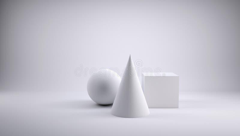 Palla, cubo e cono illustrazione vettoriale