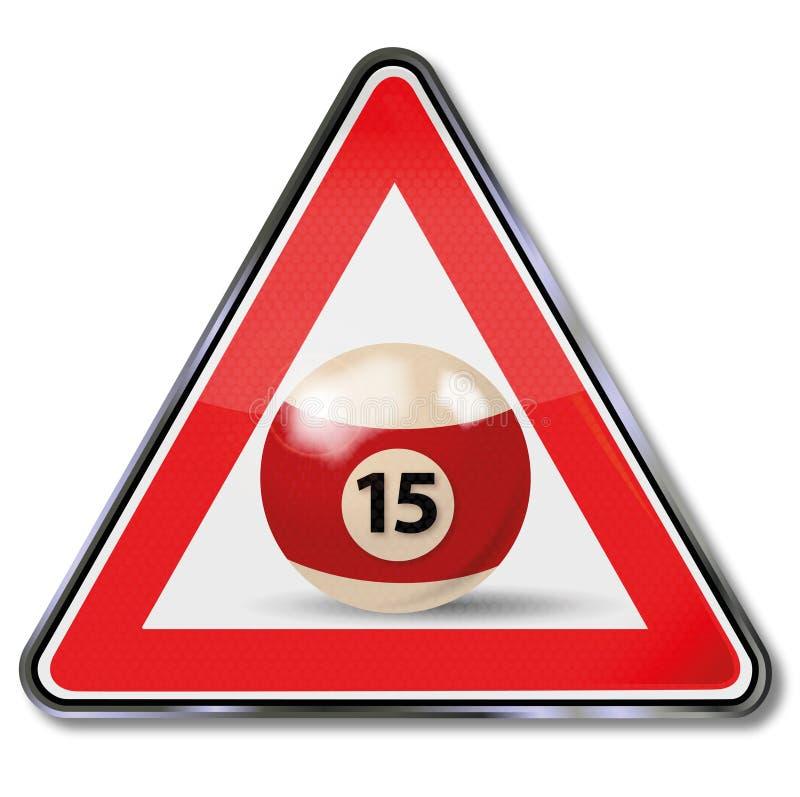 Palla da biliardo numero 15 del segno illustrazione vettoriale