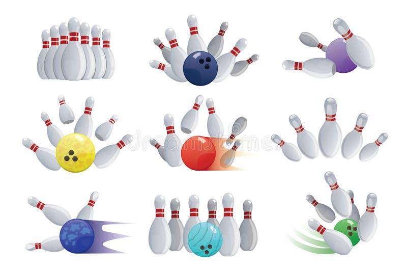 Palla da bowling che si schianta nei perni isolati sui giochi dei birilli bianchi dei birilli del fondo che kegling l'illustrazio illustrazione di stock