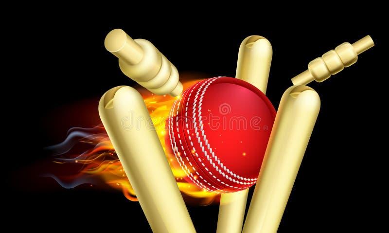 Palla da cricket ardente che colpisce i ceppi del wicket illustrazione vettoriale