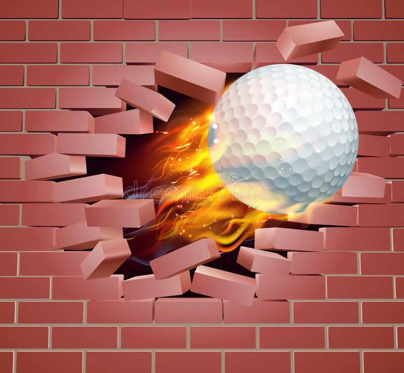 Palla da golf ardente che attraversa il muro di mattoni illustrazione di stock