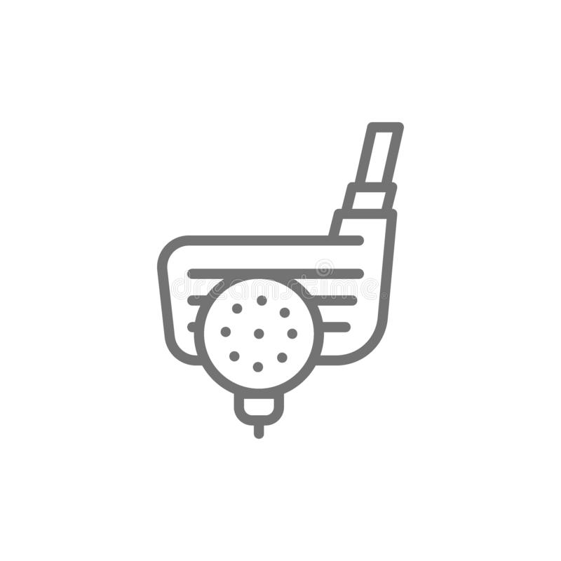 Palla da golf con il putter, linea inglese tradizionale icona di sport illustrazione vettoriale