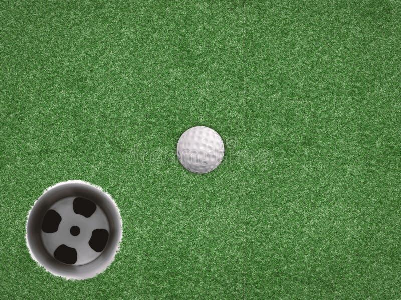 Palla da golf con la tazza di golf su fondo verde immagini stock
