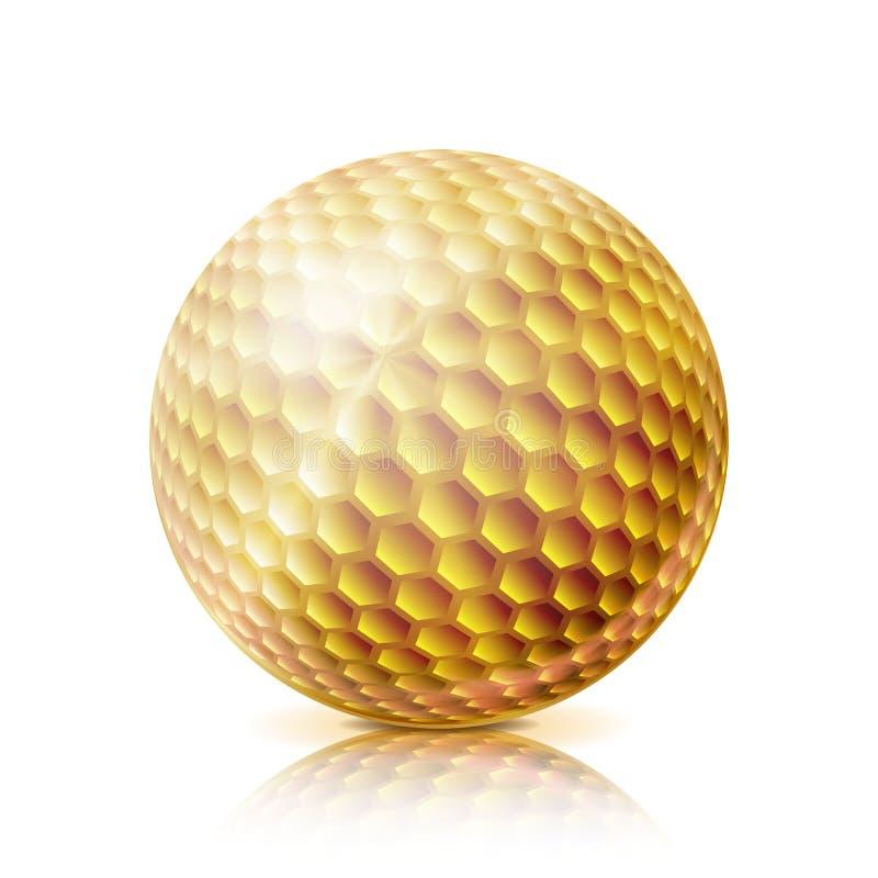 Palla da golf dell'oro illustrazione realistica di vettore 3D Isolato su priorità bassa bianca illustrazione vettoriale