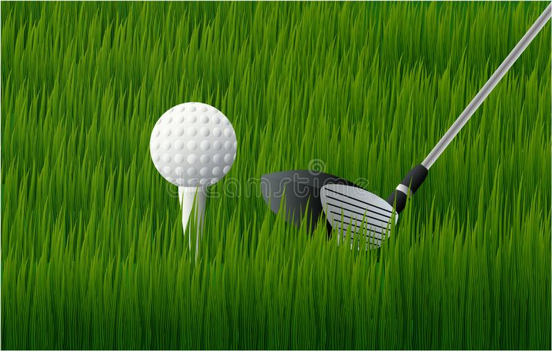 Palla da golf e club di golf sull'erba illustrazione di stock