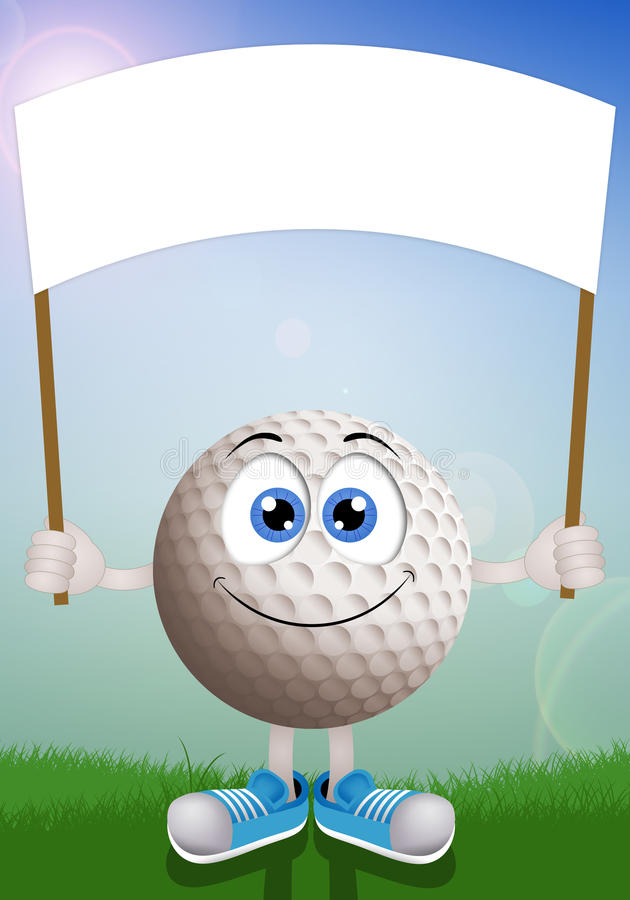 Palla da golf piacevole con il segno illustrazione vettoriale