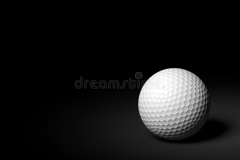 Palla da golf su fondo nero, rappresentazione 3D fotografia stock