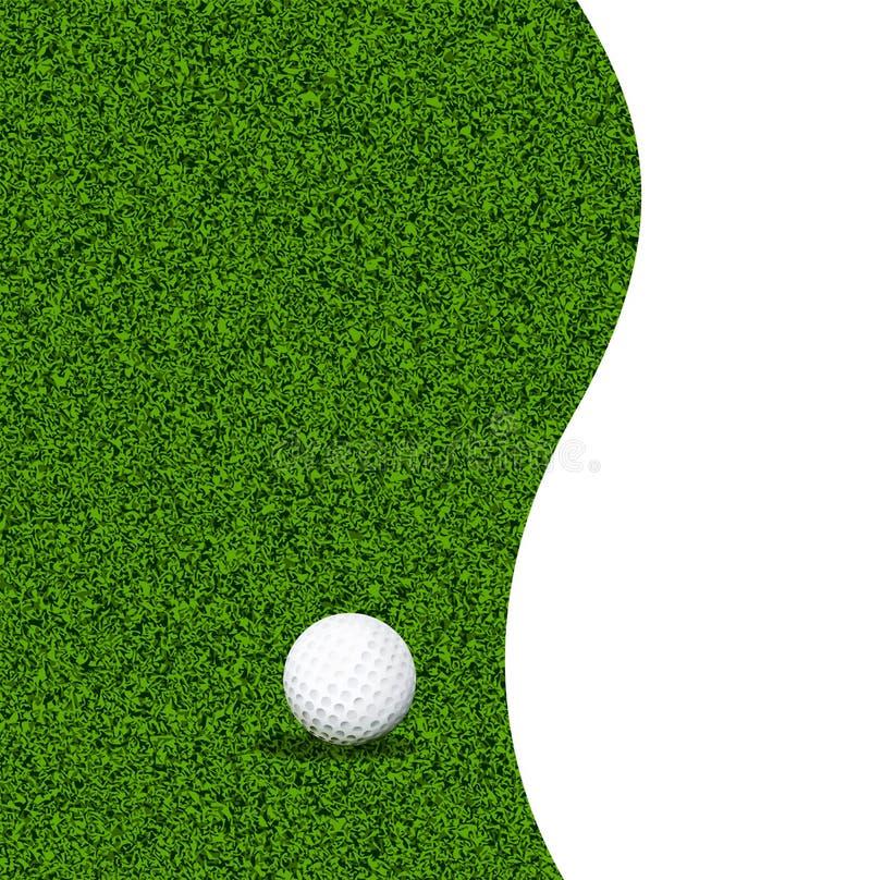 Palla da golf su un prato inglese verde illustrazione di stock