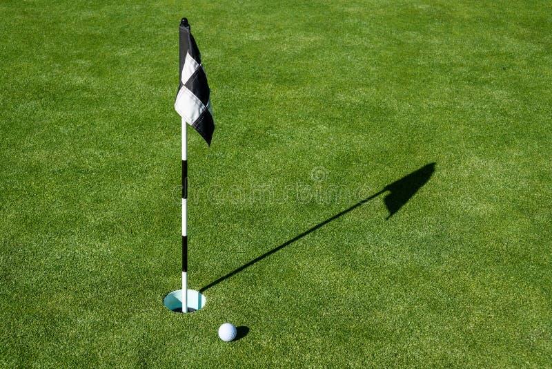 Palla da golf su verde mettente di pratica accanto al foro ed alla bandiera, mattina soleggiata immagine stock