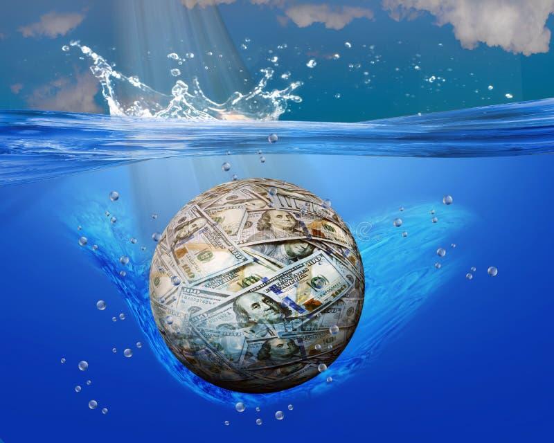 Palla dei soldi nelle acque blu illustrazione di stock