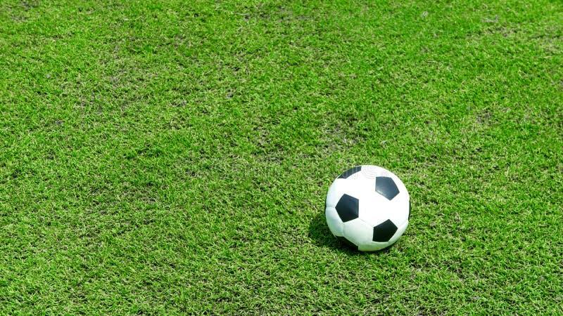 Palla del campo di football americano su erba verde, campo di calcio fotografia stock