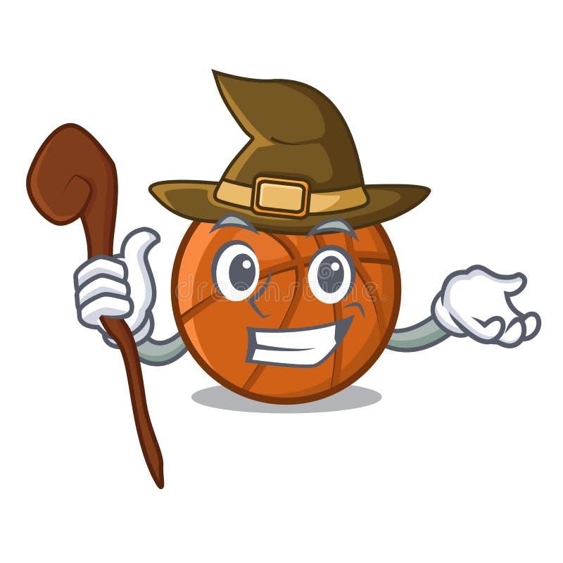 Palla del canestro della strega isolata nella mascotte royalty illustrazione gratis