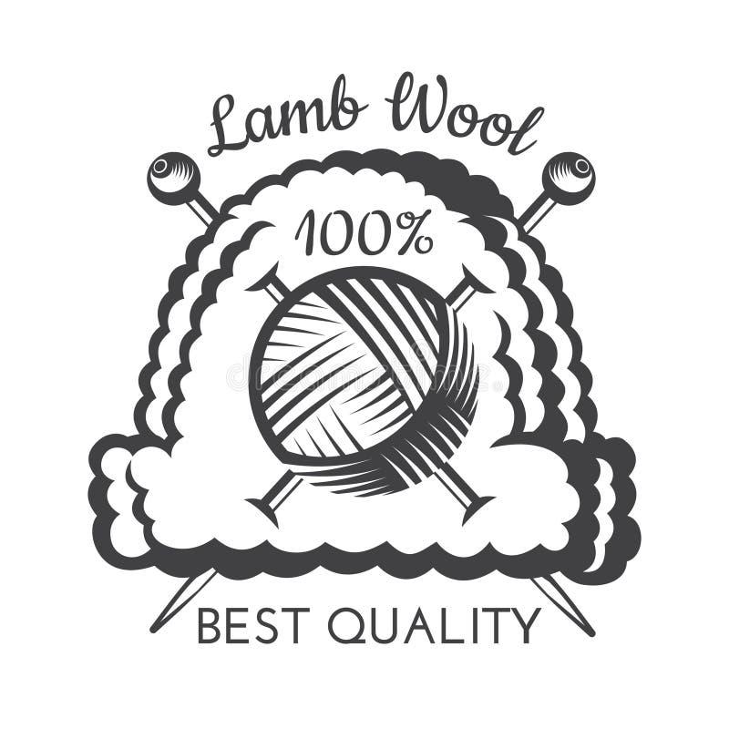 Palla del filato con i ferri da maglia attraversati sul cappuccio tricottato Logo per il sito relativo del mestiere illustrazione vettoriale