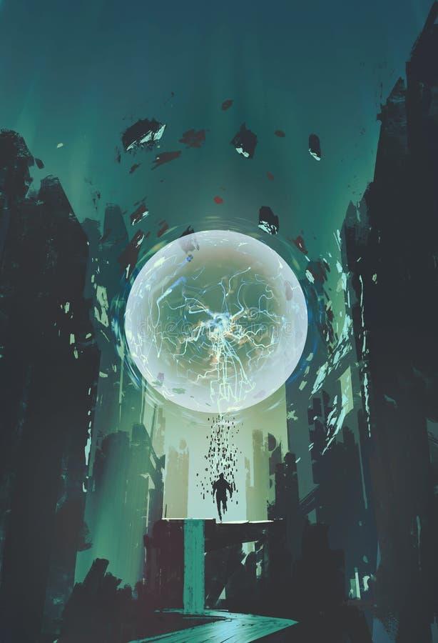 Palla del fulmine e la geometria sotto forma di essere umano con il fondo della costruzione illustrazione vettoriale