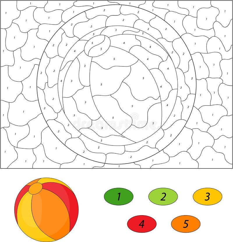 Palla del fumetto colore dal gioco educativo di numero per - Colore per numero stampabili ...