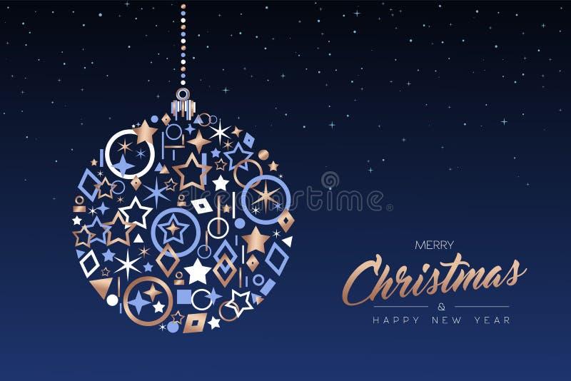 Palla del nuovo anno e di Natale fatta delle icone di rame illustrazione vettoriale