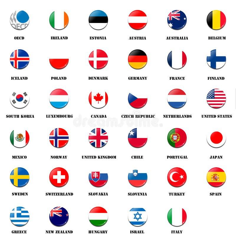 Palla della bandiera nazionale dei membri dell'OCSE illustrazione vettoriale